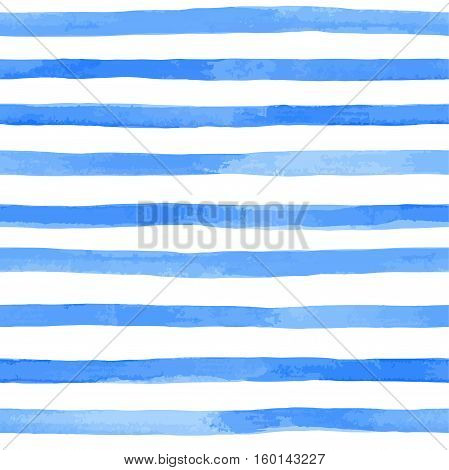 Beautiful seamless pattern with blue watercolor stripes. hand painted brush strokes striped background. Vector illustration