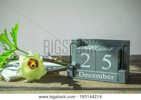 Vintage Wooden Calendar Set On The 25 Of December In Japan Tone.