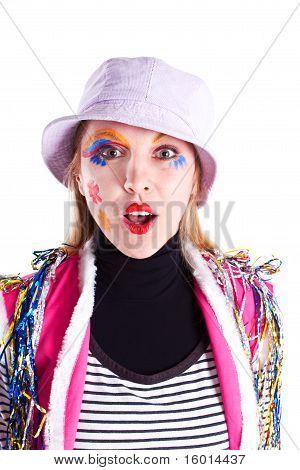 Girl Clown Shirt And Panama Hat