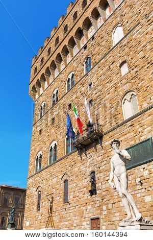 David Sculpture In Front Of The Palazzo Vecchio In Florence, Italy