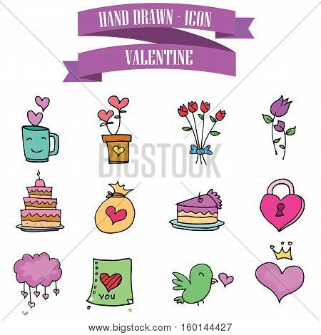 Valentine day element vector illustration collection stock