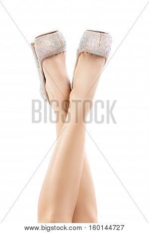 Beautiful Female Legs In Light Shoes With Rhinestones. Slender Legs, High Heels, Bright Sparkling Cr