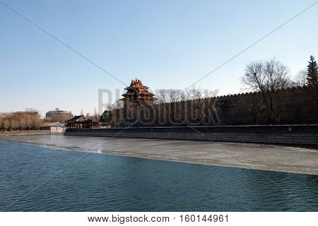 BEIJING - FEBRUARY 23: Outer moat corner of the Forbidden City, Beijing, China, February 23, 2016.