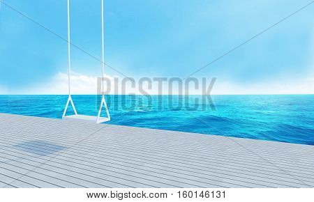 Wooden Swing With Beach Lounge Sea View And Blue Sky-3D Rendering