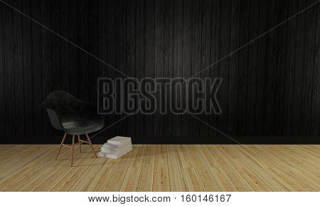 Loft And Simple Living Room And Wooden Wall Background-3D Rendering