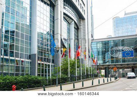 BRUSSELS, BELGIUM - June 16, 2016 : Exterior of the building of the European Parliament in Brussels, Belgium. it exercises the legislative function of the EU.June 16, 2016, BRUSSELS, BELGIUM