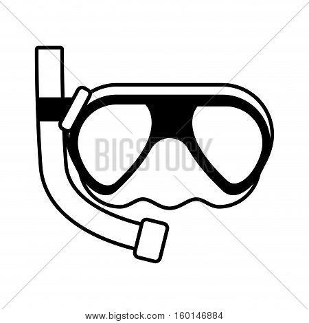 outline diving mask tube sea beach vector illustration eps 10