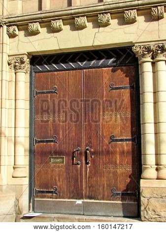 Door of St George's Greek Orthodox Church in Toronto Canada November 17 2015