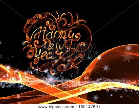 Happy new year isolated lettering written with fire flame or smoke on black background.