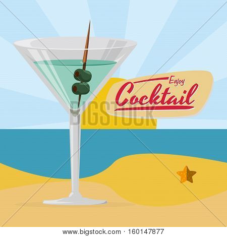 enjoy cocktail martini beach sun beach vector illustration eps 10