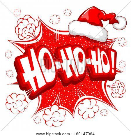 Merry Christmas greeting card in comic pop-art retro style with lettering Ho ho ho and Santa Claus hat. Vector illustration. Isolated on white background.