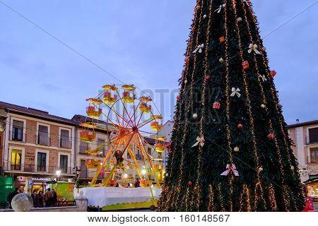 Alcala De Henares, Madrid, Spain- December 5, 2016: Cervantes Square In Christmas