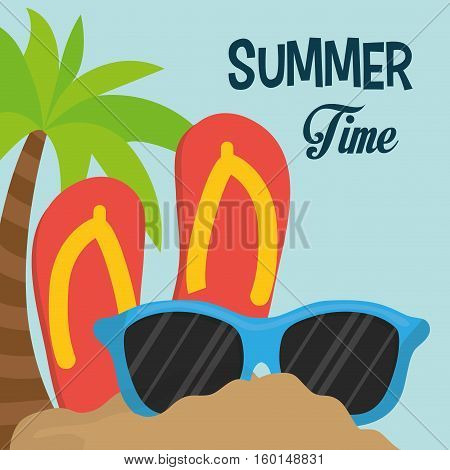 summer time flip flop sunglasses palm sand vector illustration eps 10