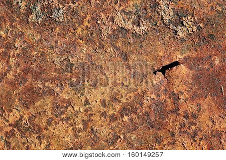 brown texture of rusty metal with holes and scuffed from time