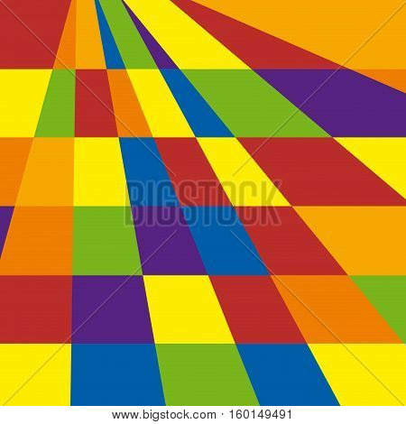 Abstract shapes geometric artwork chessboard colored, vector