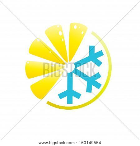 Vector logo lemon summer drink, isolated in abstract shapes