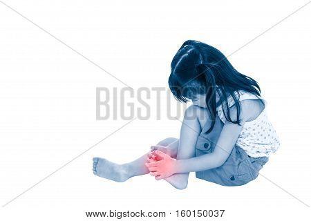 Full Body Of Sad Asian Child Injured At Toenail. Isolated On White Background.