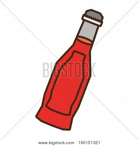 bottle soda red liquid glass vector illustration eps 10