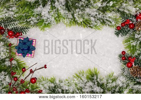 Christmas greeting card. Christmas border with copy space. Noel festive background. New year symbol.