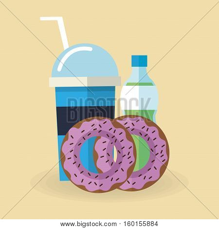 Donut and soda icon. Dessert sweet sugar and food theme. Colorful design. Vector illustration