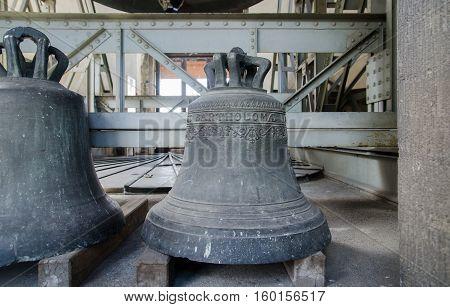 VIENNA AUSTRIA - SEPTEMBER 6 2012: Bells on bell tower of St.Stephen's Cathedral. Vienna. Austria