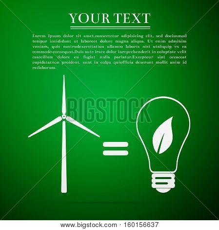Wind turbine and bulb with leaves as idea of eco-friendly source of energy flat icon on green background. Vector Illustration