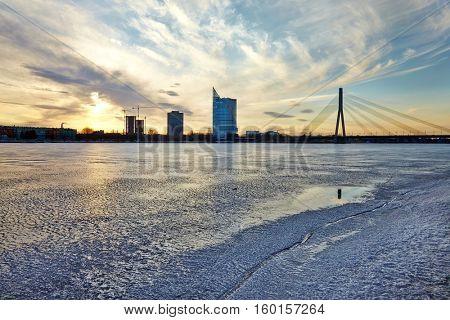 Riga in winter with the Daugava river frozen over
