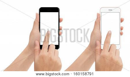 hand touch phone isolated with clipping path on white background mock-up smart phone blank screen