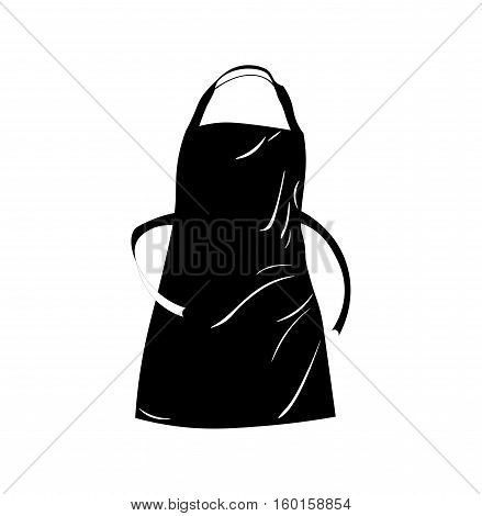 Black apron with outsets and pocket. Vector Illustration Isolated On White Background