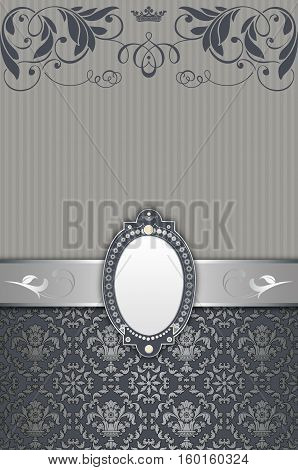 Old-fashioned ornate grey and blue background with decorative border elegant frame and silver vintage patterns.