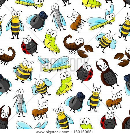 Cartoon insects and bugs seamless pattern on white background with bee, ladybug, fly, dragonfly, caterpillar, beetle, mosquito, wasp, bumblebee, ant and scorpion characters