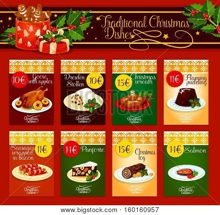 Christmas dinner menu template with meat, fish and pastry dishes. Christmas turkey and chocolate cake, flaming pudding, sweet xmas wreath, baked salmon, sausage in bacon, fruit and nut dessert