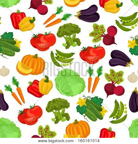 Vegetables pattern of fresh ripe farm vegetable flat icons of pumpkin, cucumber, beet, tomatoes, carrot, peas, pepper, cabbage, eggplant, garlic, broccoli. Vector seamless pattern background of vegetarian vegetables
