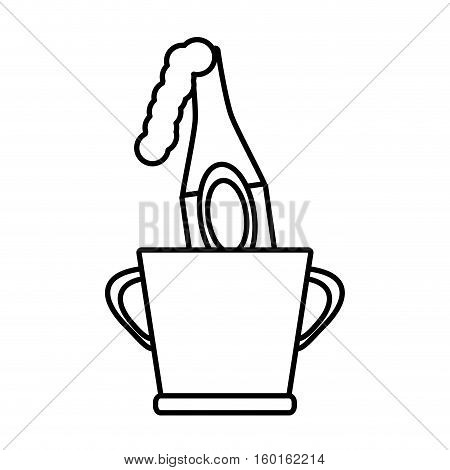 champagne bucket bottle ice design outline vector illustration eps 10
