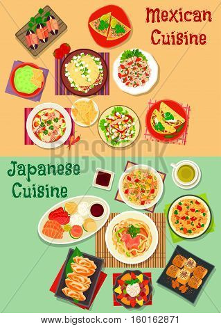 Mexican and japanese cuisine icon with chorizo salad taco, sashimi, seafood rice, guacamole, nacho, beef and salmon ceviche tortilla, pork noodle, seafood, meat, vegetable salads, egg roll, dessert
