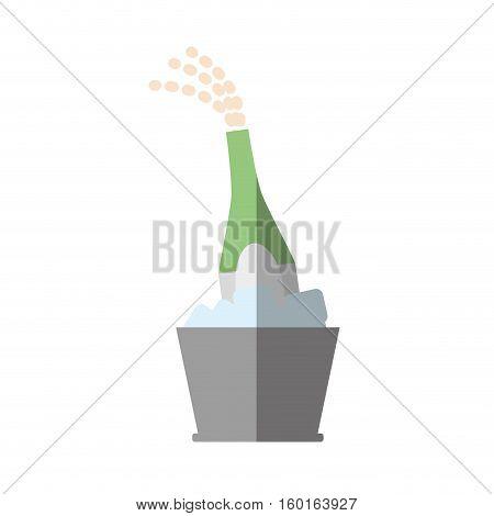 champagne bucket bottle ice design shadow vector illustration eps 10