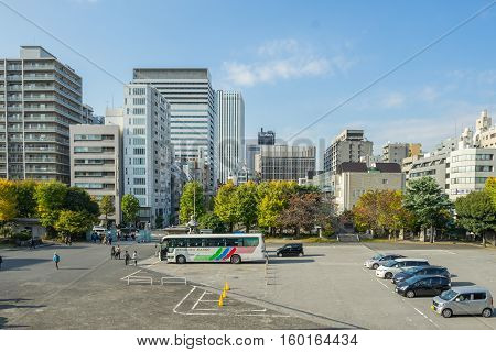 Tokyo, Tsukiji Japan -NOV 18, 2016 : Cityscape view take a photo from inside Tsukiji Honganji temple