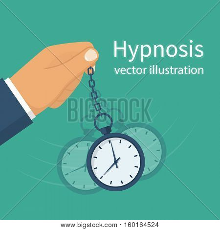 Hypnosis concept. Man holding a watch on a chain. Golden pocket watch. Pendulum swinging. Mind control. Vector illustration flat design. Isolated on background.