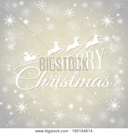 Merry Christmas, greeting card vector illustration. Background with snowflakes and bright glare. Glittering lettering design, Santa Claus in a sleigh on deer. Abstract background. Happy holiday.