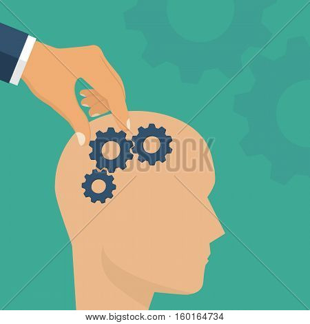 Improvement brain concept. Mind control. Direction of thought. Repair of damaged brain. Vector illustration flat design. Isolated on background. Gears in head.