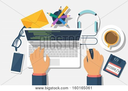 Developer web concept. Programmer write code for laptop. Software coding, programming languages, testing, debugging, web site. Search engine. Desktop web designer. Vector illustration flat design.