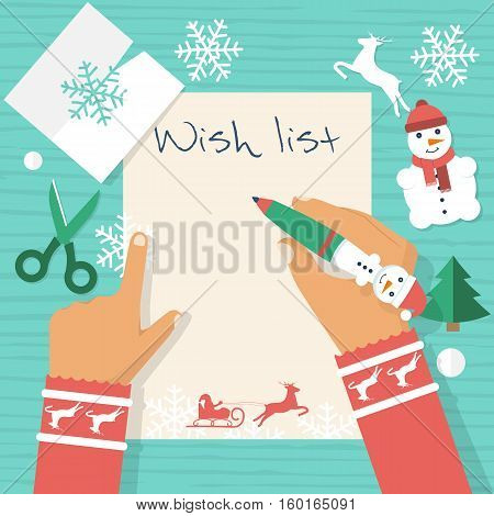 Child at table writing a letter to Santa Claus wish list. Merry Christmas and New Year. Vector illustration flat design. Blank sheet for text template. Group layers, easy to edit. Holiday background.