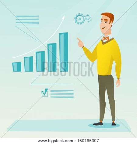 Caucasian successful businessman pointing at chart going up. Cheerful smiling businessman satisfied by his business success. Business success concept. Vector flat design illustration. Square layout.