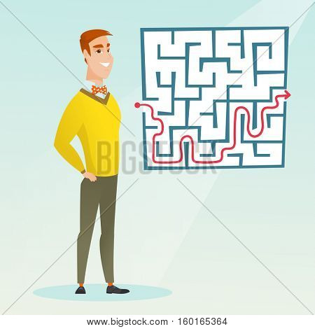 Young cheerful businessman looking at the labyrinth with solution. Caucasian businessman thinking about business solution. Business solution concept. Vector flat design illustration. Square layout.