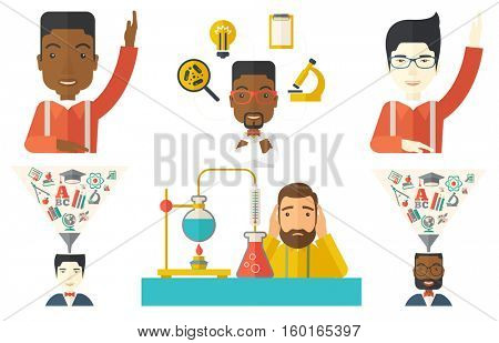 Student raising hand for an answer. Student sitting at the desk with raised hand. Student carrying out experiment in laboratory. Set of vector flat design illustrations isolated on white background.