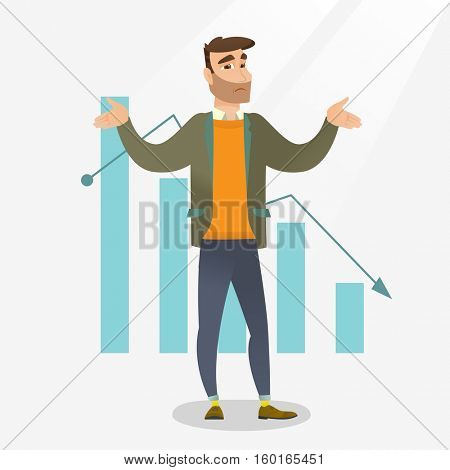 Bankrupt businessman standing on a background of decreasing chart. Bancrupt businessman unaware what to do with bankruptcy. Business bankruptcy concept. Vector flat design illustration. Square layout. poster