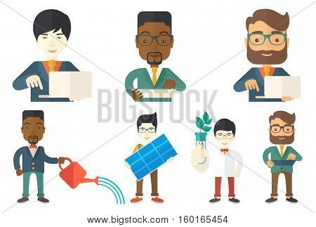 Young happy man holding solar panel in hands. Man with solar panel in hands. Worker of solar power plant. Green energy concept. Set of vector flat design illustrations isolated on white background.