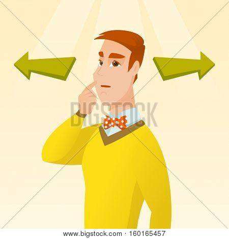 Caucasian businessman thinking about solution of business problem. Businessman with two arrows symbolizing business solution. Business solution concept. Vector flat design illustration. Square layout.