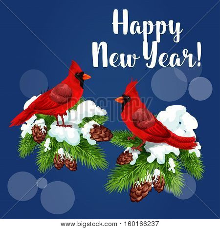 Cardinal birds holiday greeting card. Red cardinals sitting on snowy pine branch with cones and text Happy New Year. Festive poster design