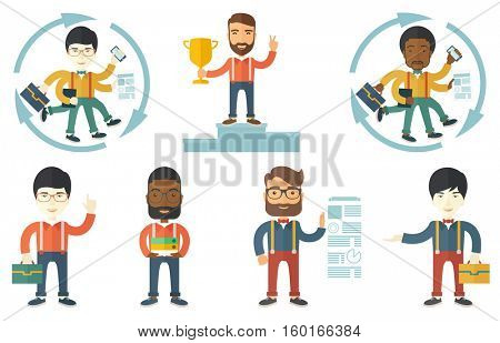 Businessman with many legs and hands coping with multitasking successfully. Multitasking business person. Concept of multitasking. Set of vector flat design illustrations isolated on white background.